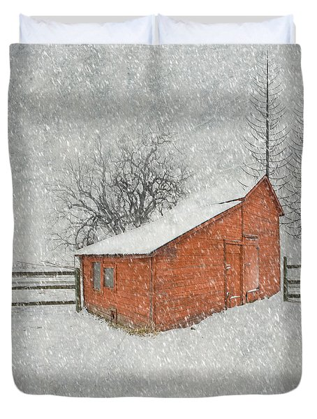 Little Red Barn Duvet Cover by Juli Scalzi