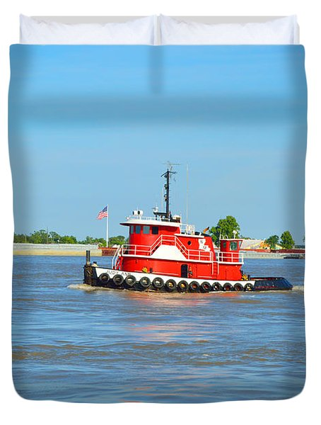 Little Red Boat On The Mighty Mississippi Duvet Cover by Alys Caviness-Gober