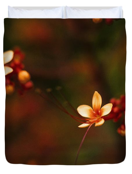 Little Red Flowers Duvet Cover