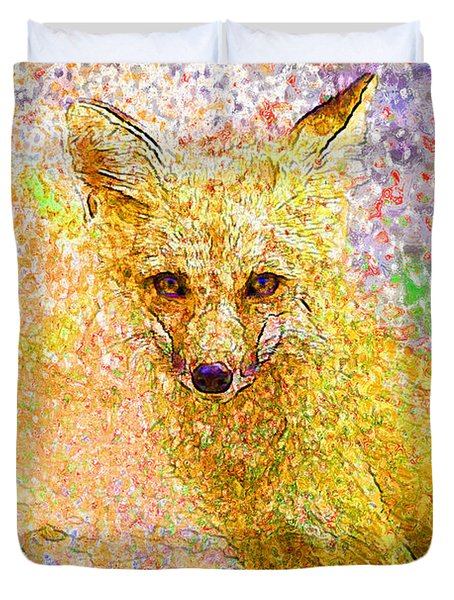 Little Red Fox Duvet Cover by Claire Bull