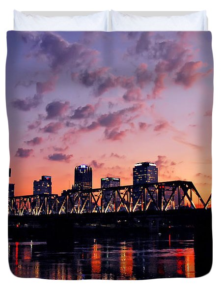 Little Rock Bridge Sunset Duvet Cover by Mitchell R Grosky