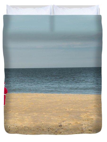 Little Santa On The Beach Duvet Cover