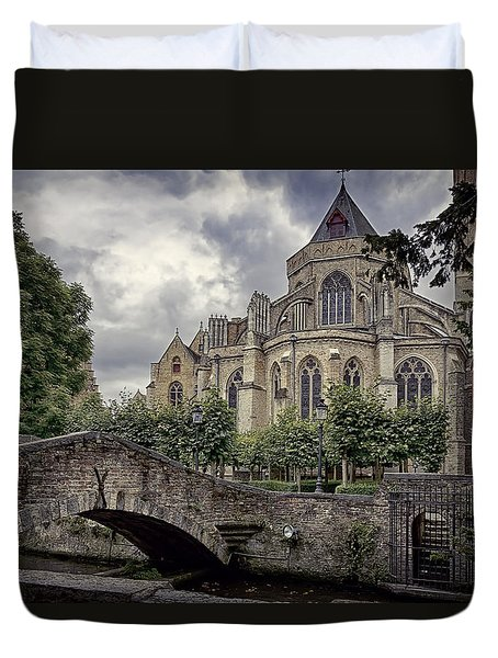 Little Stone Bridge By The Church Duvet Cover by Joan Carroll