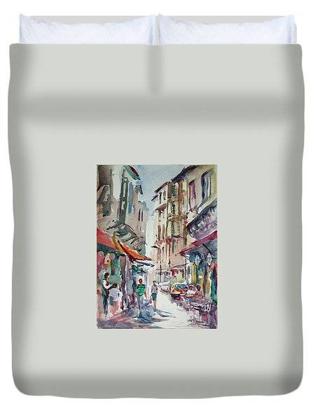 Duvet Cover featuring the painting Little Trip At Exotic Streets In Istanbul by Faruk Koksal