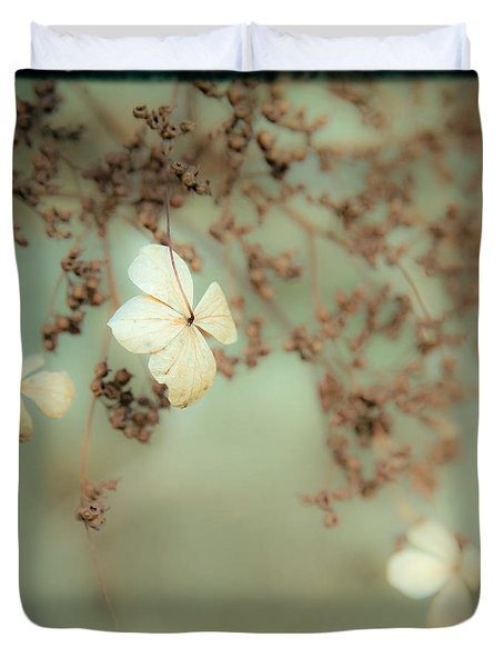 Little White Flowers - Floral - The Little Things In Life Duvet Cover by Gary Heller