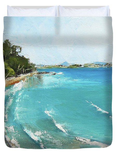 Duvet Cover featuring the painting Litttle Cove Beach Noosa Heads Queensland Australia by Chris Hobel