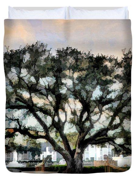 Live Oak Artistic Trendering Duvet Cover by Dan Friend