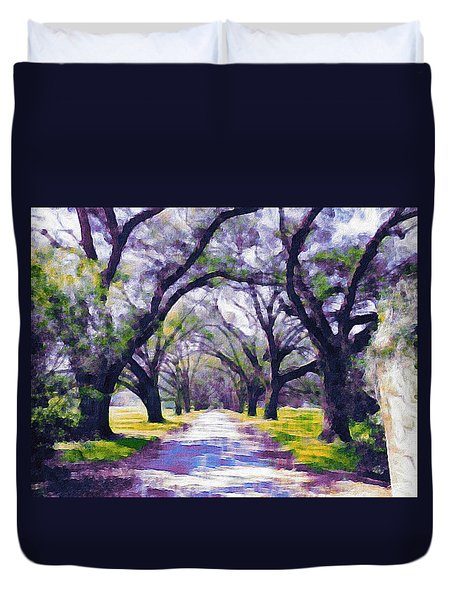Live Oak Tree Entry Duvet Cover by Patricia Greer