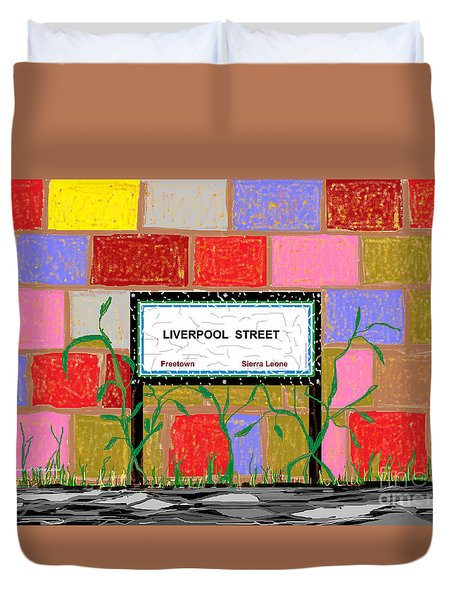 Duvet Cover featuring the digital art Liverpool Street - Freetown by Mudiama Kammoh