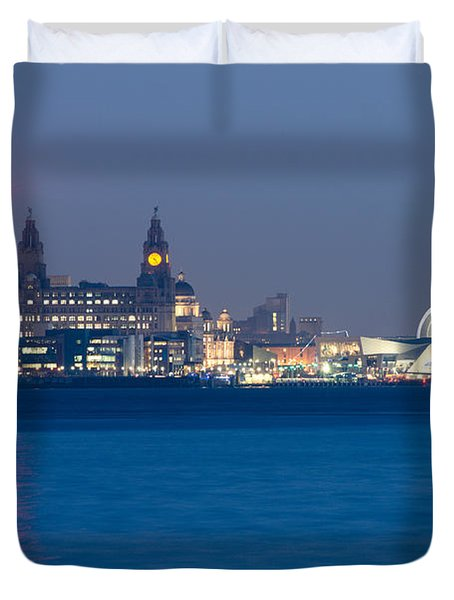 Liverpool Waterfront Duvet Cover by Spikey Mouse Photography