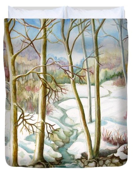 Duvet Cover featuring the painting Living Creek by Inese Poga