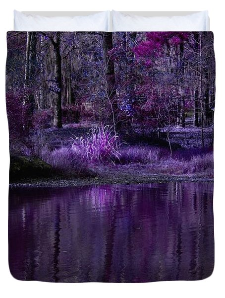 Living In A Purple Dream Duvet Cover by Linda Unger