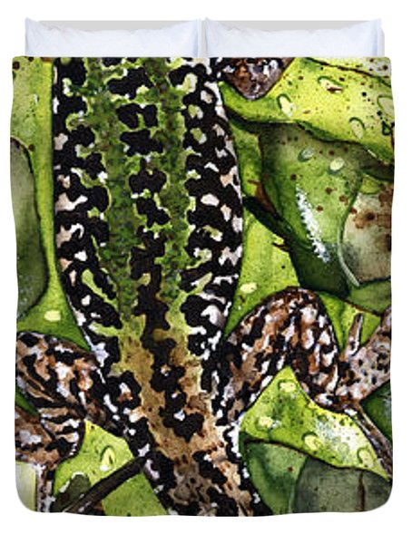 Lizard In Green Nature - Elena Yakubovich Duvet Cover