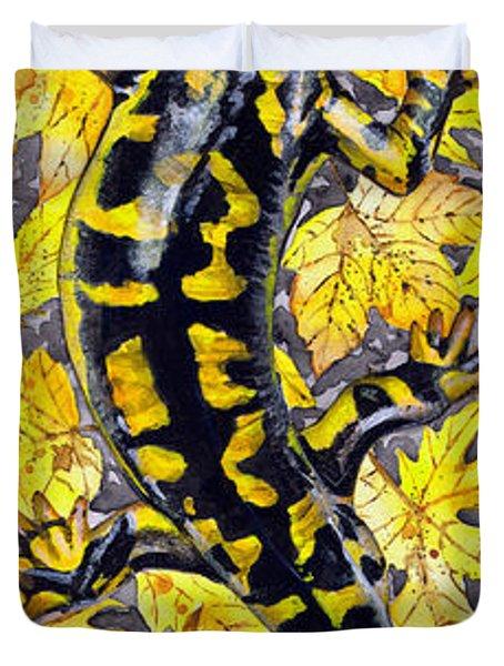 Duvet Cover featuring the painting Lizard In Yellow Nature - Elena Yakubovich by Elena Yakubovich