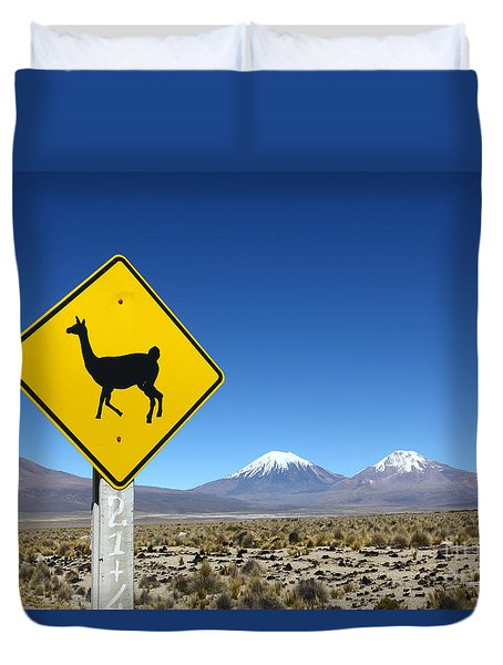 Llamas Crossing Sign Duvet Cover