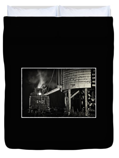 Loading Water At Chama Train Station Duvet Cover by Priscilla Burgers