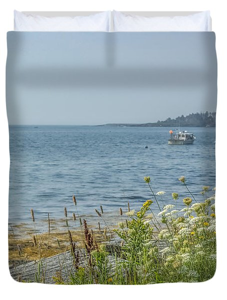 Duvet Cover featuring the photograph Lobster Boat At Rest by Jane Luxton