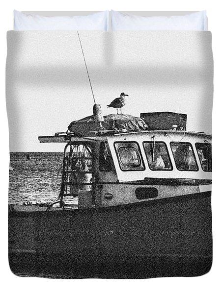Lobster Boat Duvet Cover by Fred Larson