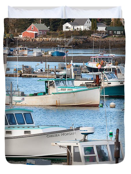 Lobster Boats In Bass Harbor I Duvet Cover