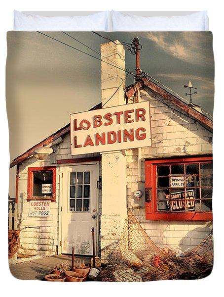 Lobster Landing Clinton Connecticut Duvet Cover