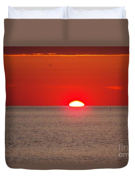 Lobster Pots Dance In The Sea  At Sunrise Duvet Cover