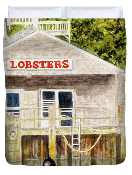 Duvet Cover featuring the painting Lobster Shack by Carol Flagg