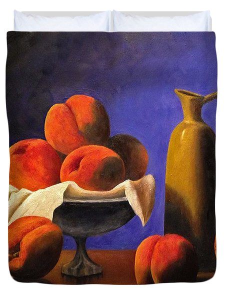 Local Peaches Oil Painting Duvet Cover