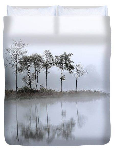 Loch Ard Trees In The Mist Duvet Cover