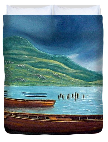 Duvet Cover featuring the painting Loch Maree Scotland by Fran Brooks