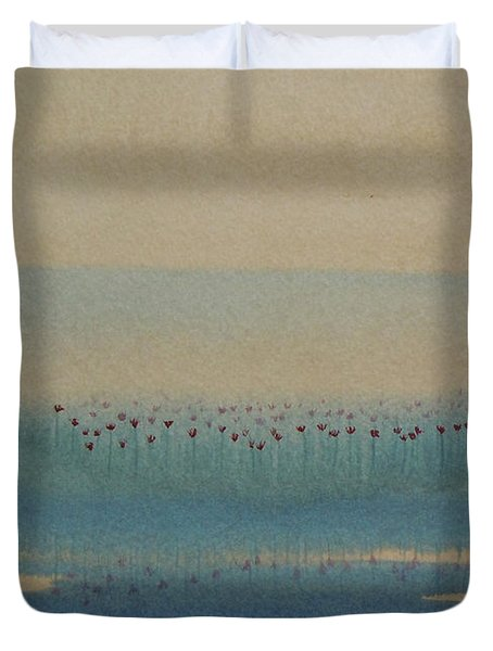Duvet Cover featuring the painting Loch Of My Heart by Mini Arora