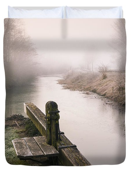 Duvet Cover featuring the photograph Lock Gates On A Still Misty Morning. by Trevor Chriss