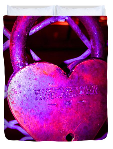 Lock Of Love In Pink Duvet Cover by Kym Backland