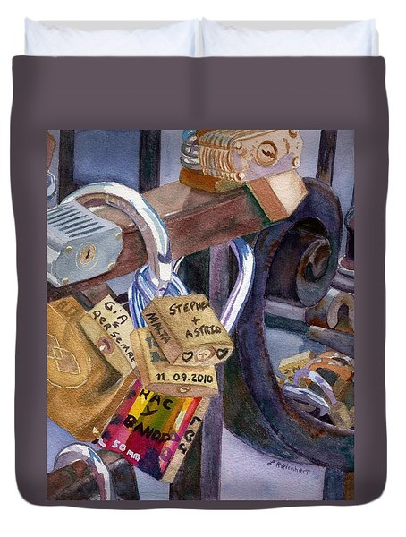 Duvet Cover featuring the painting Locks Of Luck by Lynne Reichhart