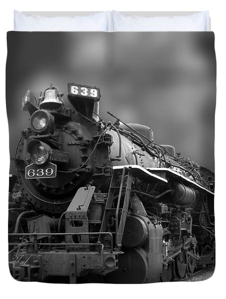 Locomotive 639 Type 2 8 2 Front And Side View Bw Duvet Cover by Thomas Woolworth