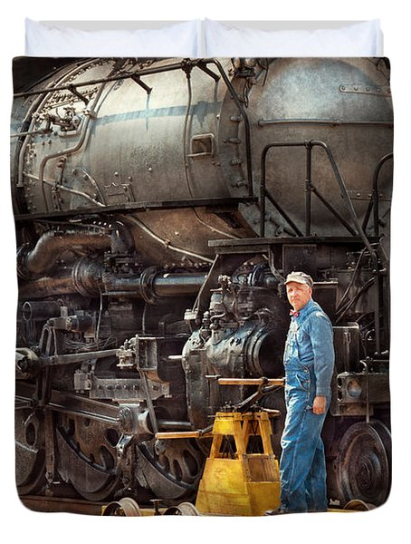 Locomotive - The Gandy Dancer  Duvet Cover by Mike Savad