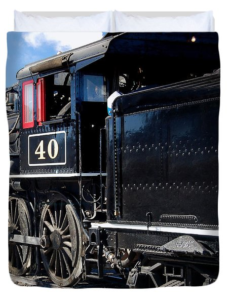 Duvet Cover featuring the photograph Locomotive With Tender by Gunter Nezhoda