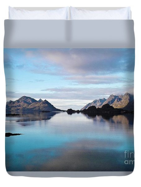 Lofoten Islands Water World Duvet Cover by Heiko Koehrer-Wagner
