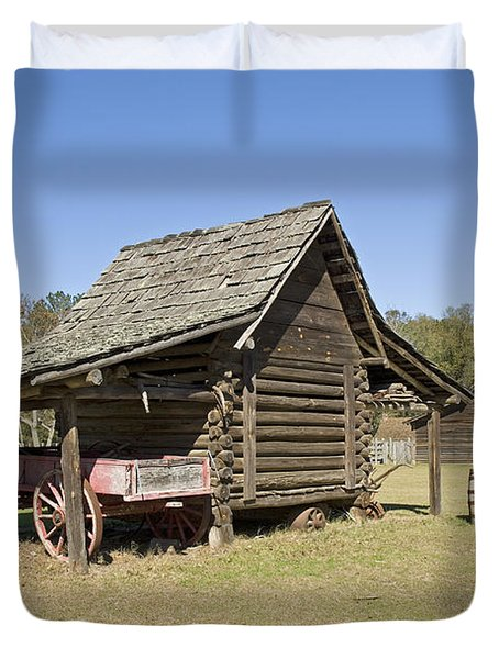 Duvet Cover featuring the photograph Log Cabin And Barn by Charles Beeler