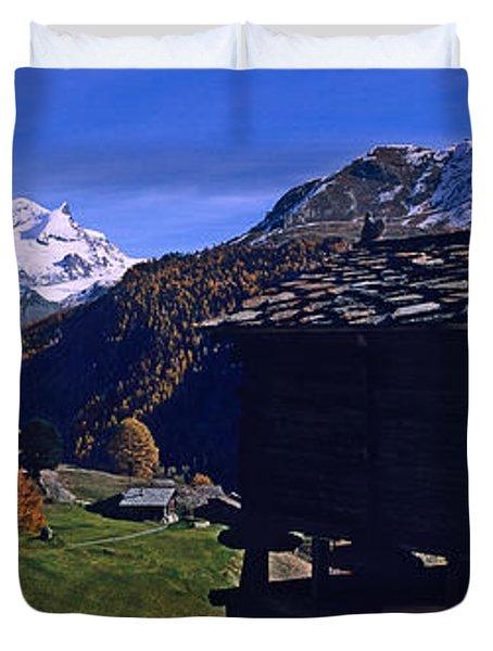 Log Cabins On A Landscape, Matterhorn Duvet Cover