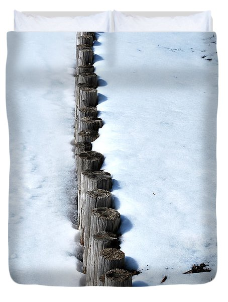 Log Fence In The Snow Duvet Cover by Nancy Mueller