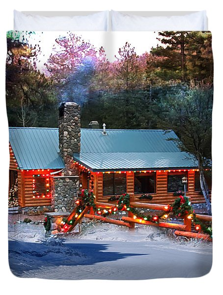 Duvet Cover featuring the photograph Log Home On Mount Charleston With Christmas Decoration by Gunter Nezhoda
