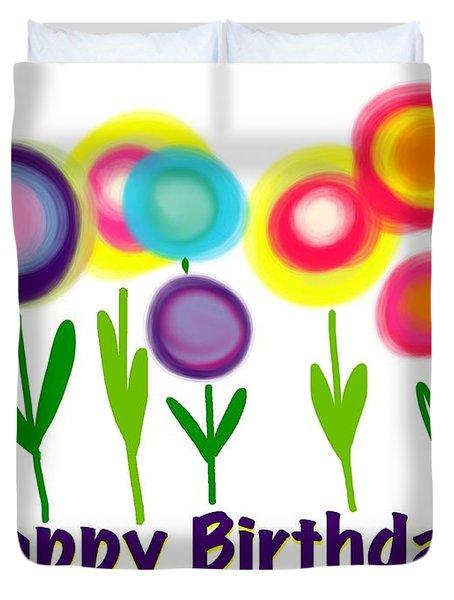 Duvet Cover featuring the digital art Lollipop Flowers  by Christine Fournier