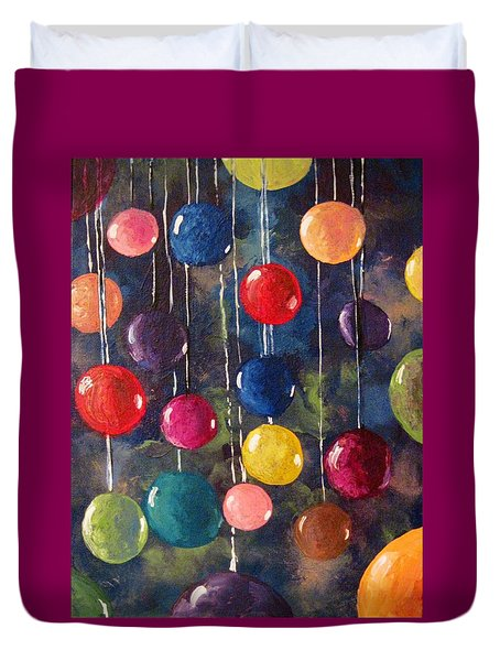 Duvet Cover featuring the painting Lollipops Or Balloons? by Megan Walsh