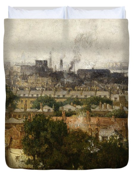 London And The Thames From Greenwich Duvet Cover by John Auld