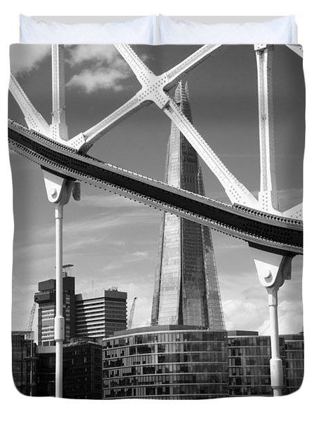 Duvet Cover featuring the photograph London Bridge With The Shard by Chevy Fleet