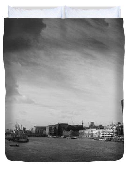 London City Panorama Duvet Cover by Pixel Chimp