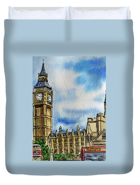London England Big Ben Duvet Cover by Irina Sztukowski