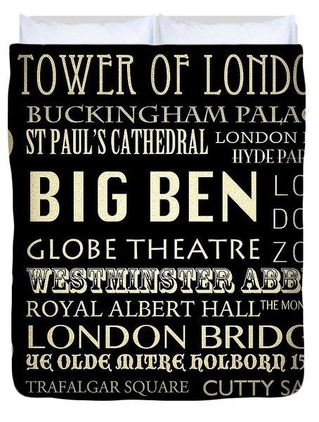 London England Famous Landmarks Duvet Cover