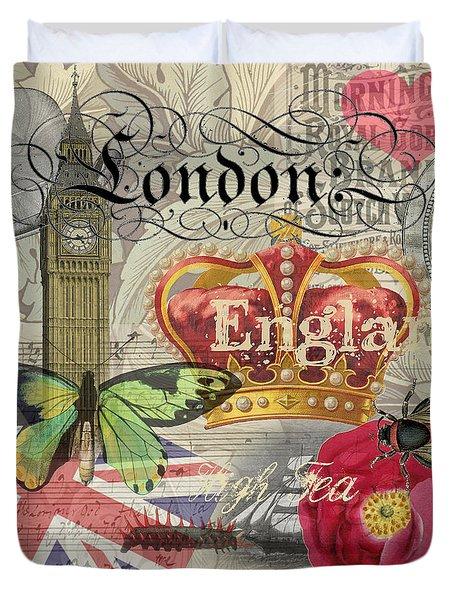 London England Vintage Travel Collage  Duvet Cover