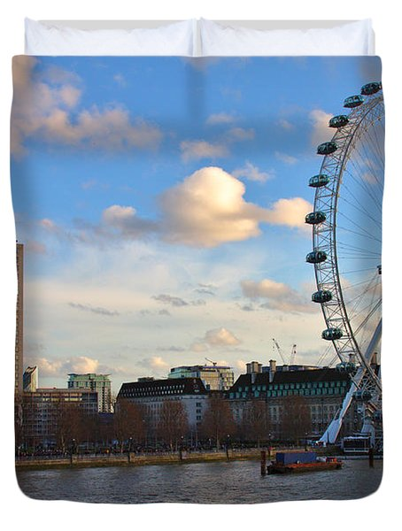 London Eye And Shell Building Duvet Cover